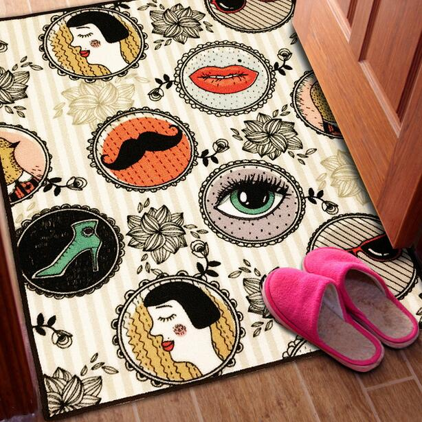 Retro fashion trend Printed Carpet Bedroom mat bedside blanket bedside mat sitting room tea table tapis Non-slip rug blanket