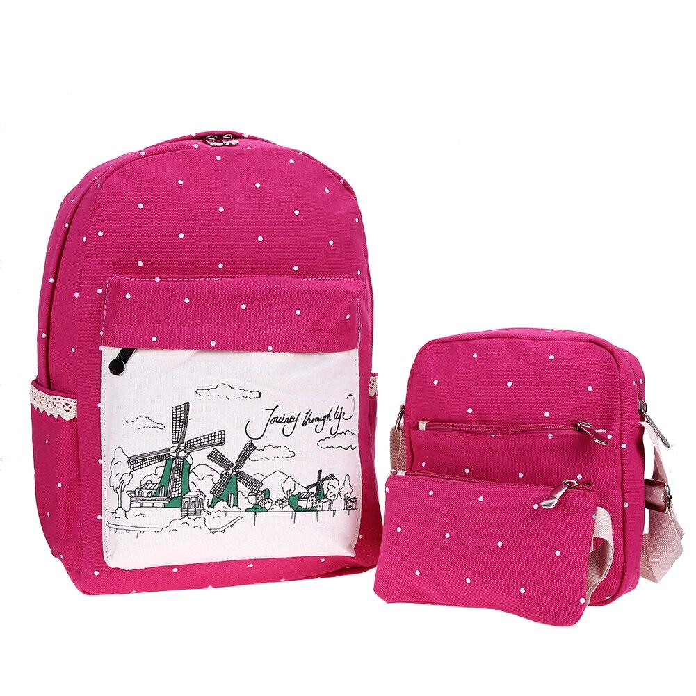 3pcs Women Canvas Backpack Casual Dot Floral Printed Backpack Shoulder Bag Clutch Printing Backpack Set