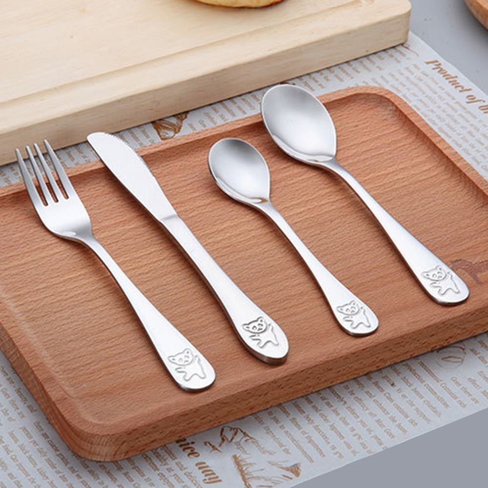 4pcs/set Baby Teaspoon Spoon Food Feeding Fork Knife Utensils Set Stainless Steel Kids Learning Eating Habit Children Tableware