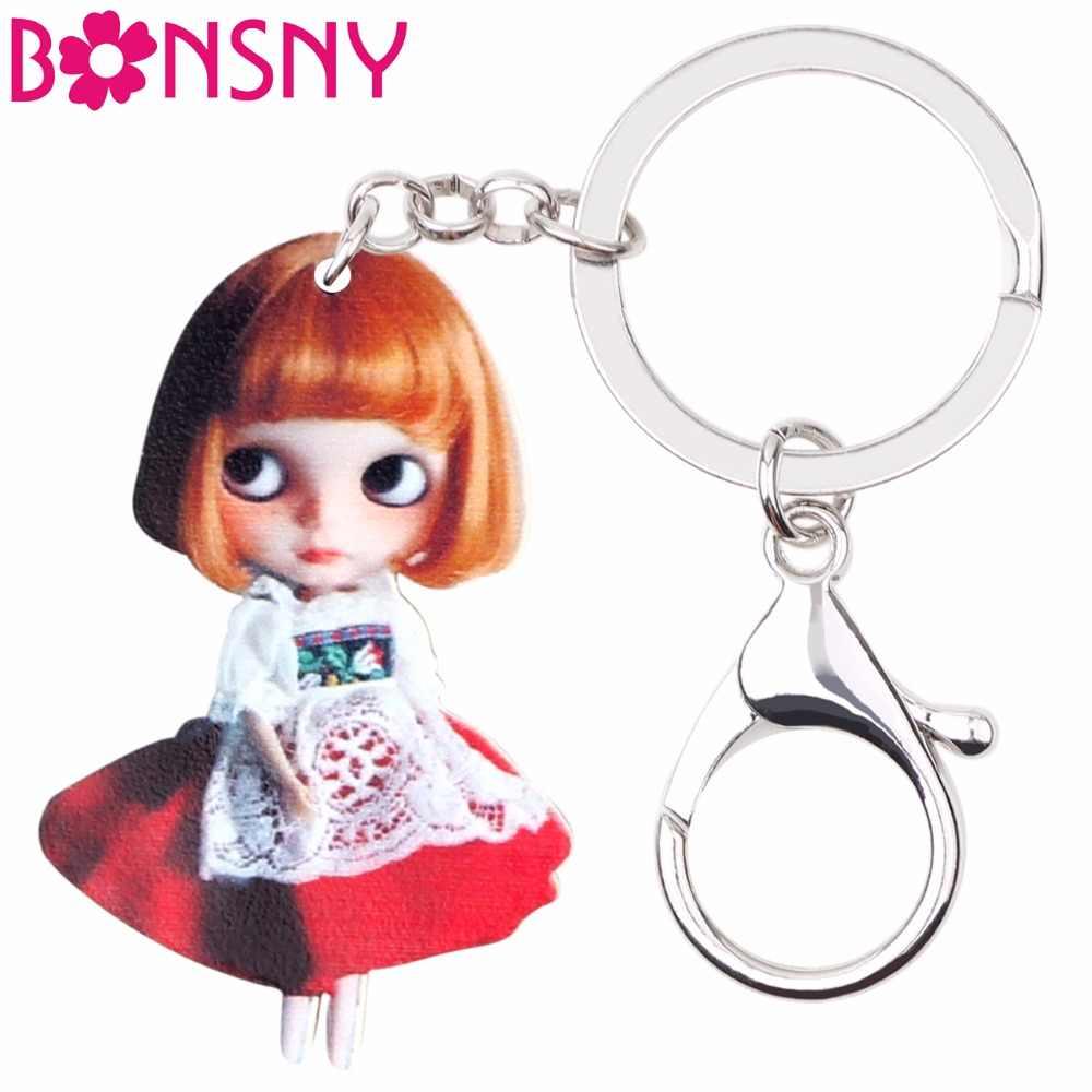 Bonsny акриловые милые золотые волосы девочка кукла модная цепочка для ключей праздничные украшения Брелки для женщин девушки сумка автомобиль кулон украшение