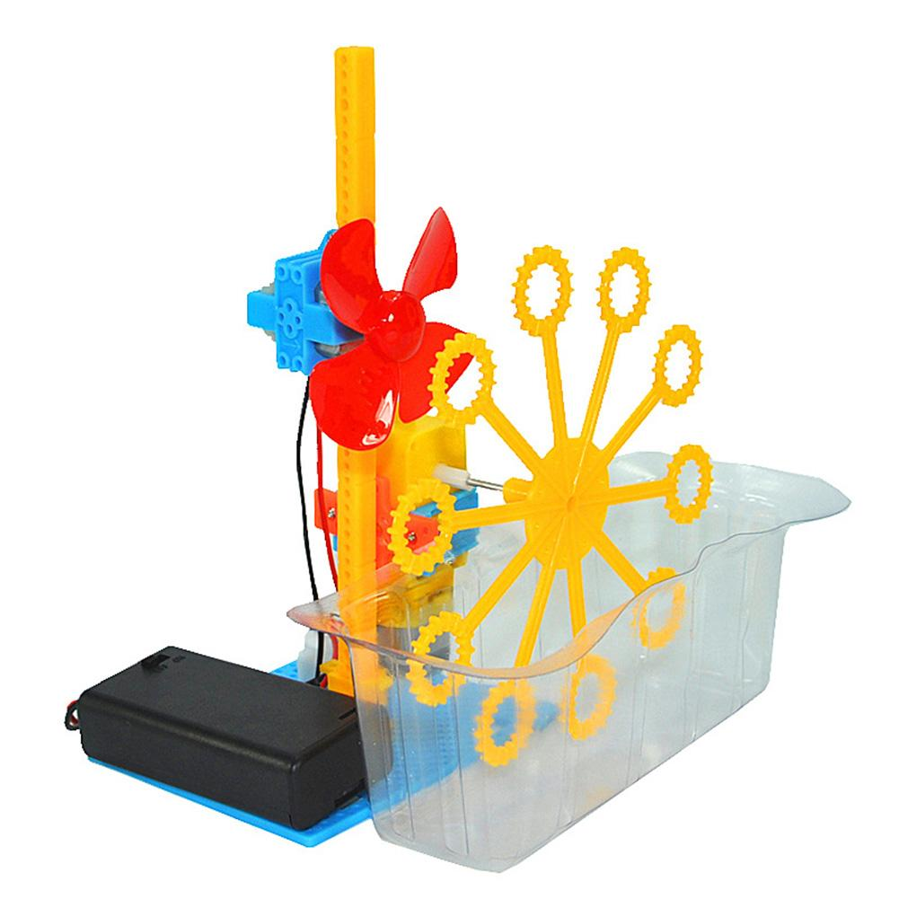 DIY Assembly Electric Bubble Machine Model Science Experiment Kit Education Toy