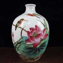 Exquisite Chinese Famille-Rose Porcelain Birds and Lotus Designs Auspicious Ornament Vase exquisite chinese antique imitation famille rose auspicious porcelain plate painted with peony and birds