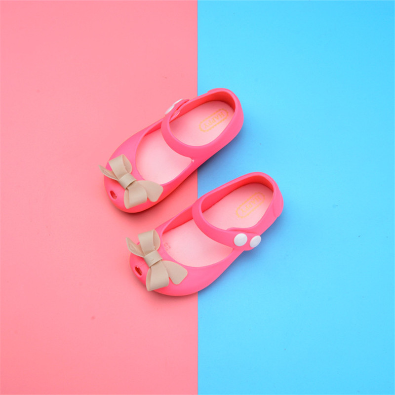 Girls Sandals mini melissa Cute bow Childrens Shoes kids Sandals Lovely childrens rubber Beach Shoes Summer sandals 13-17CM