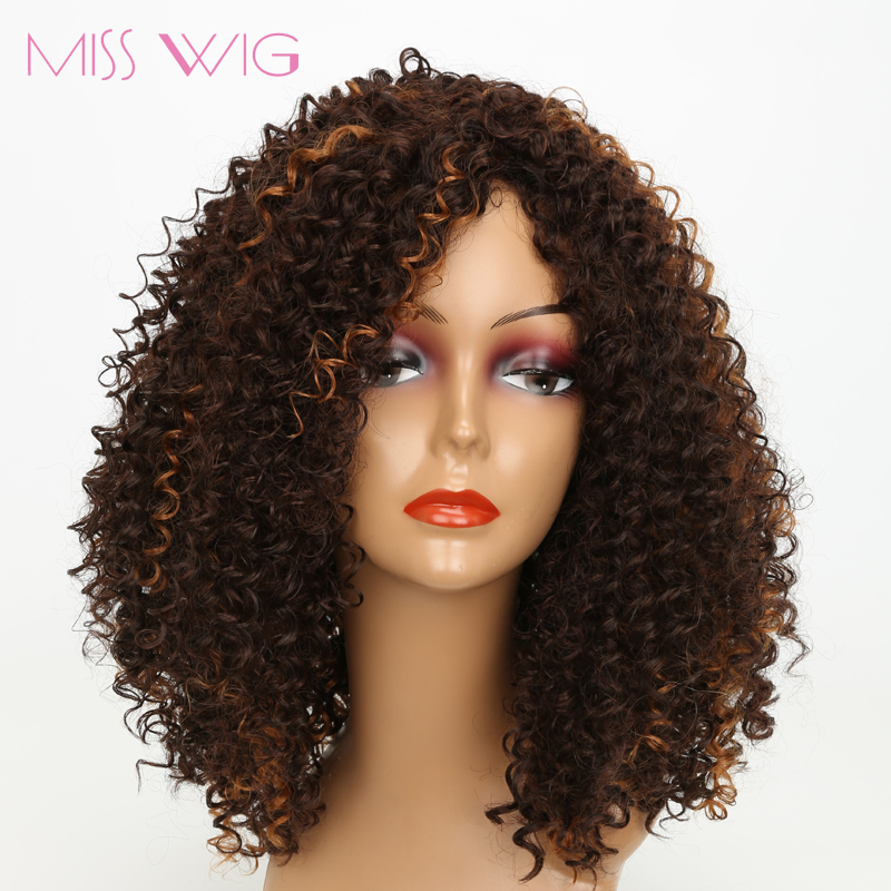 MISS WIG Long Dark Brown Mixed Blonde White African Kinky Curly Short Wigs For Black Women 300g Afro Hair Synthetic Wigs