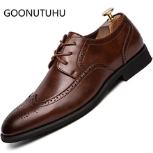 Men's shoes dress leather 2019 new classic brown black brogue shoe man big size 38-48 office wedding party formal shoes for men