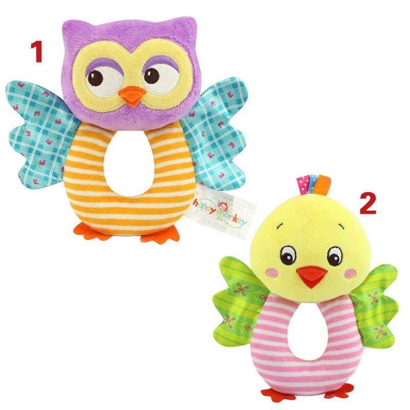 Fashion Newborn Infant Rattles font b Toy b font Handbell Cartoon Animal Owl Chicks Boy Girl