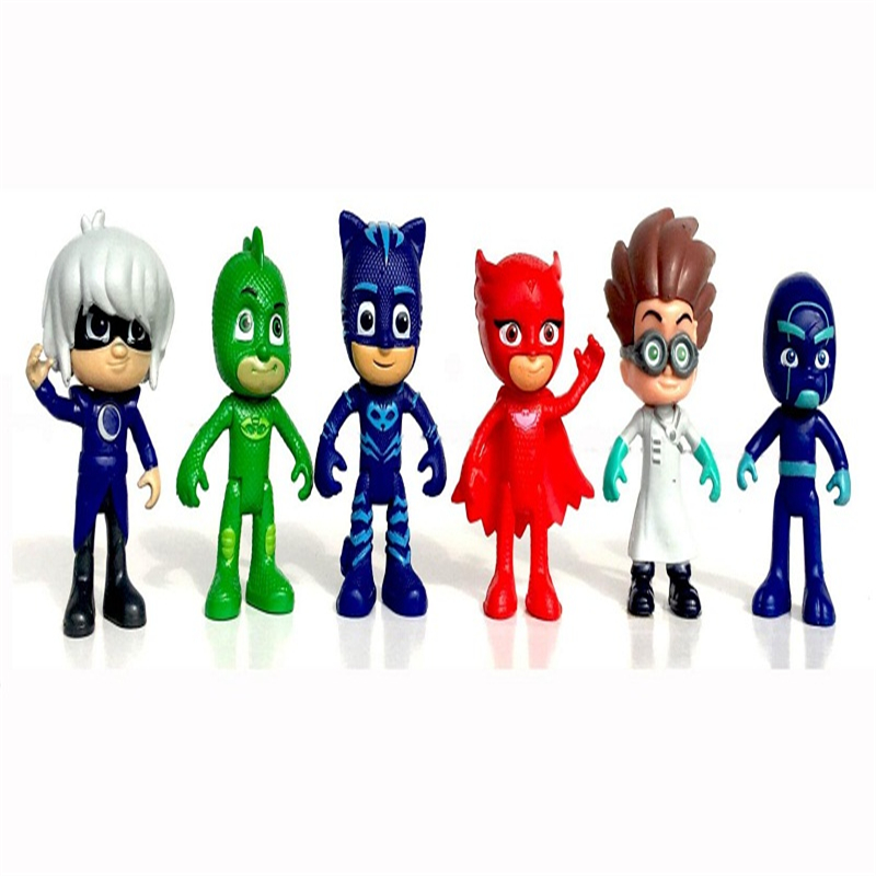 pj mask figure 6pcs/set 8-9cm Pj Masks Characters Cat boy Owlette Gekko Cloak Action Figure Toys Boy Birthday Gift Plastic Dolls all characters tracer reaper widowmaker action figure ow game keychain pendant key accessories ltx1