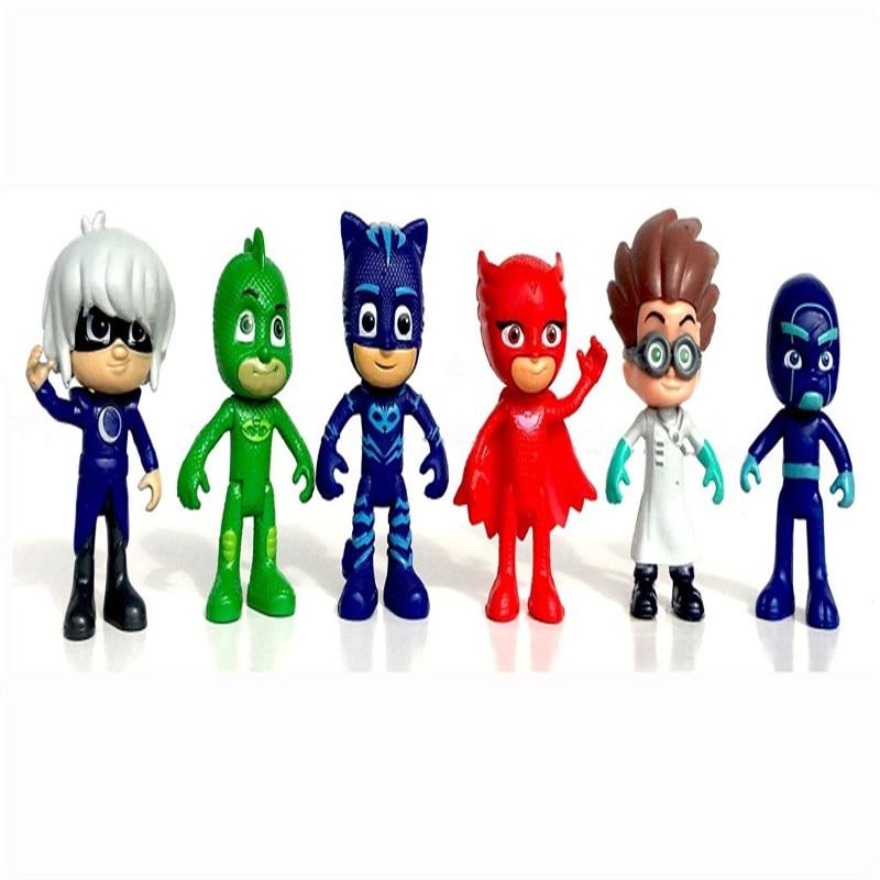 pj mask figure 6pcs set 8 9cm Pj Masks Characters Cat boy Owlette Gekko Cloak Action
