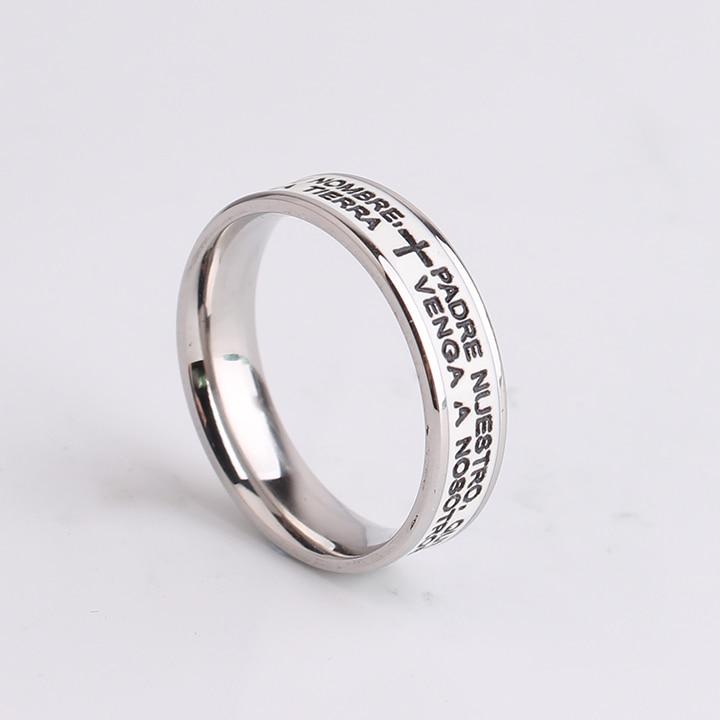 free shipping 6mm White Bible Cross 316l Stainless Steel finger rings for men women wholesale
