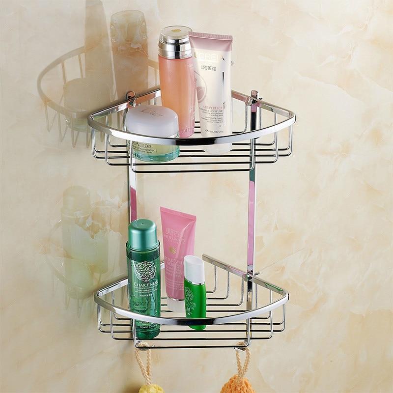 NEW Hot Sale bathroom vanity wall mounted shower basket stainless steel polish chrome finish double shelves w/ 2 hooks hot sale fashion hot sale coconut palm iron wall hanging basket