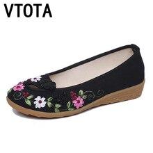VTOTA Bordado Zapatos de Las Mujeres Pisos Slip Flor En Tela de Algodón Cómoda Viejo Pekín Planos de la Bailarina Zapatos Sapato Feminino A3