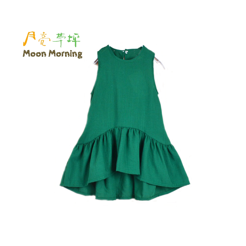 Moon Morning Girls Blouse 3T~10T Frill Ruffles Long Sleeveless Green Shirts Summer Cool Fashion Lovely Sweet Linen Upper Uniform
