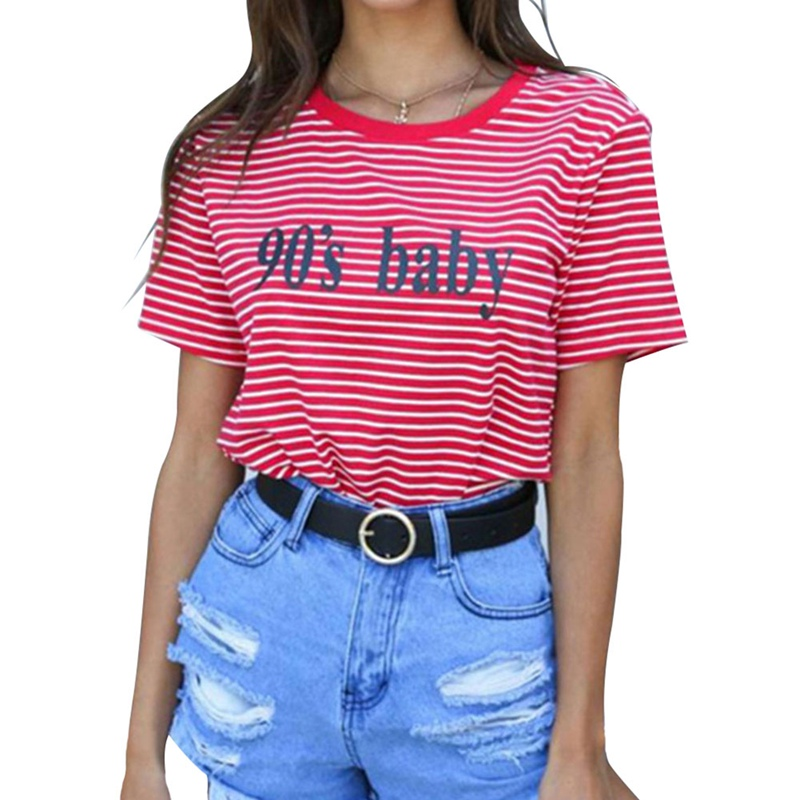 Fashion Clothes For Women 2018 Summer Tops 90S Baby Letter Printed Harajuku T Shirt Red Stripped Female T-shirt