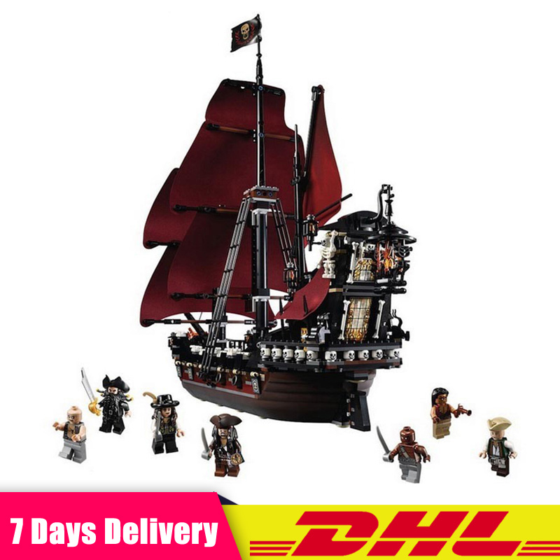 Queen Anne's Revenge Ship Pirates of The Caribbean Model Building Blocks Bricks Set Compatible LegoINGlys 4195 Christmas Gift new movie queen anne s revenge pirates of caribbean fit legoings ship city figures model building block bricks 4195 gift kid toy
