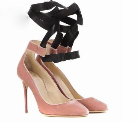 2017 new style spring sweet pink black suede leather shallow high heel pumps shoes dress pumps ankle strap lace up party shoes new arrivals pale pink shiny leather kawaii rabbit ankle strap sweet lolita shoes 5 5cm heel pumps