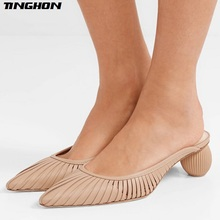 TINGHON Vintage Geometric Ball Heel Women Mules Shoes Sexy Pointed Toe Slipper Sandals Summer Designer