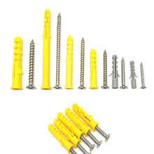Small yellow croaker plastic expansion tube screw connector M6*30 + stainless steel / color zinc (50 sets)