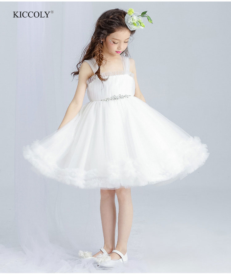 KICCOLY 2018 Summer Girls Dresses For Party And Wedding Sleeveless Sling Gall Gown White Waist Glass Diamonds Lace Dress 4-14T стул coleman summer sling 205147