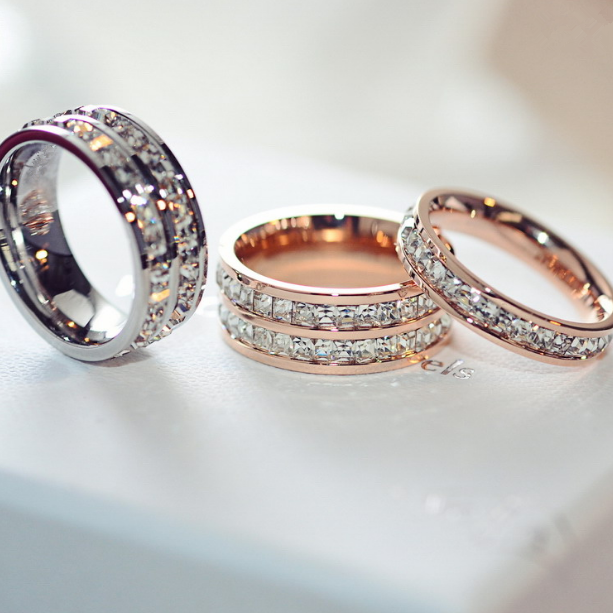 Hot sale Double crystal Woman Fashion Rings