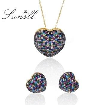 20df6c50a4fb SUNSLL nueva llegada oro cobre Multi colores Cubic Zirconia pendientes de  moda Collar conjunto de joyas para regalo de las mujeres de la boda Brincos