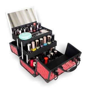 Image 5 - Yüksek Kaliteli Alüminyum alaşımlı çerçeve Makyaj Organizatör Kadınlar Kozmetik Durumda Ayna Ile Seyahat Büyük Kapasiteli saklama kutusu Bavul