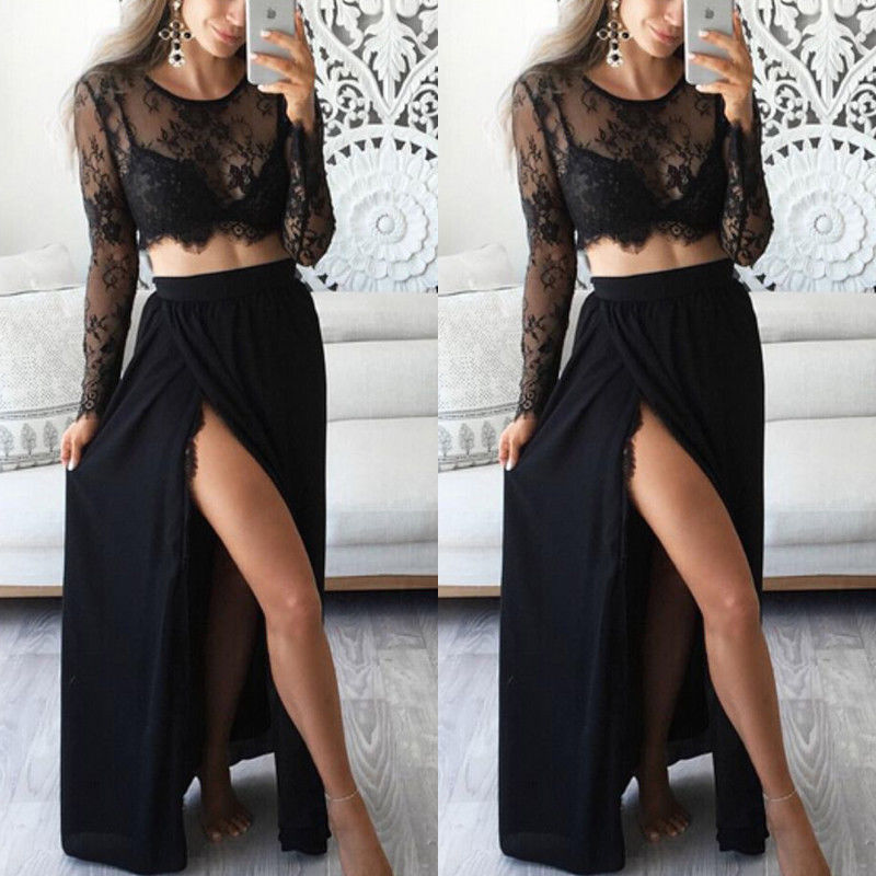 Skirt Suit Crop-Top Maxi Embroidery Floral 2piece-Set High-Waist Women Summer Sexy And