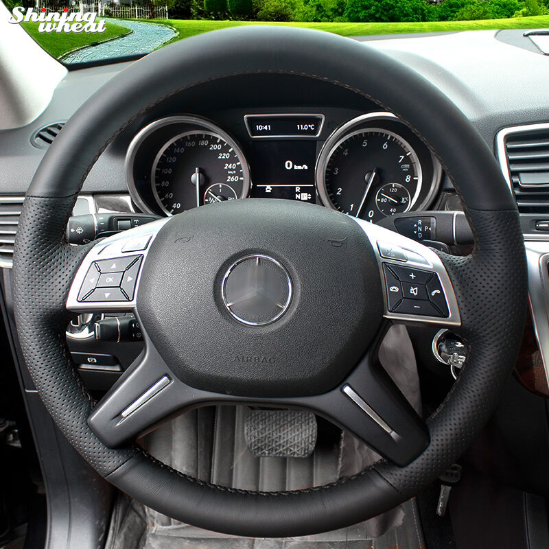 Shining wheat Hand-stitched Black Genuine Leather Car Steering Wheel Cover for Mercedes-Benz GL350 ML350