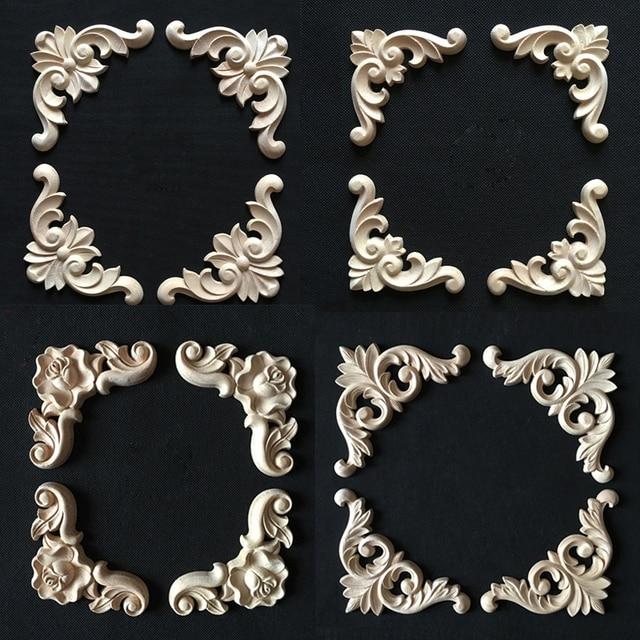 Fashion Irregular Wood Carving 6 Pcs Cabinet Door Frame Nautical Home Decor Wooden Plaque Signs Furniture Decorative Liques