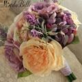 Великолепный 2016 Ручной работы Желтый Лаванда Фиолетовый Свадебный Букет Невесты Цветок Свадебные Букеты Де Mariage Artificiels