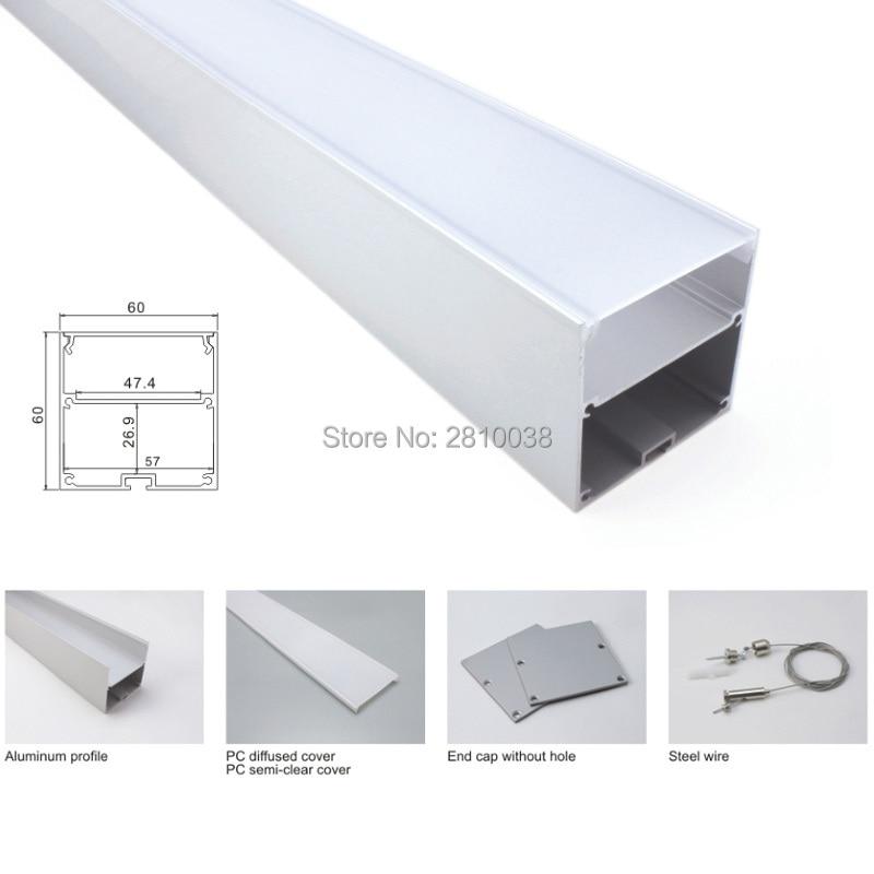 50X 1M conjuntos/lote Serie 6000 tira de led de perfil de aluminio y tipo cuadrado de perfil de aluminio led para suspender o colgante luces