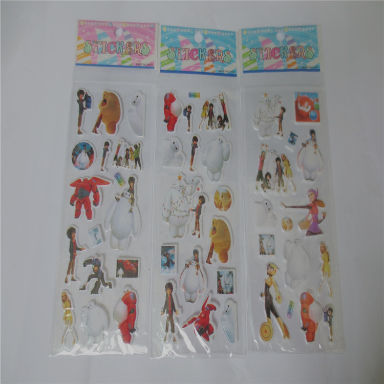 20pcs/lot PJ Stickers Big Hero 6 PJ Sticker ,Baymax Robot Big Hero Bubble stickers For Kids Festival Gift Rewards stickers