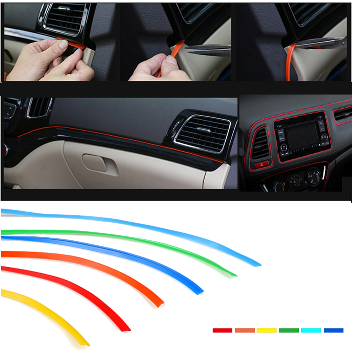 1meter diy car grille interior exterior mouldings trim decorative strip line in car stickers. Black Bedroom Furniture Sets. Home Design Ideas