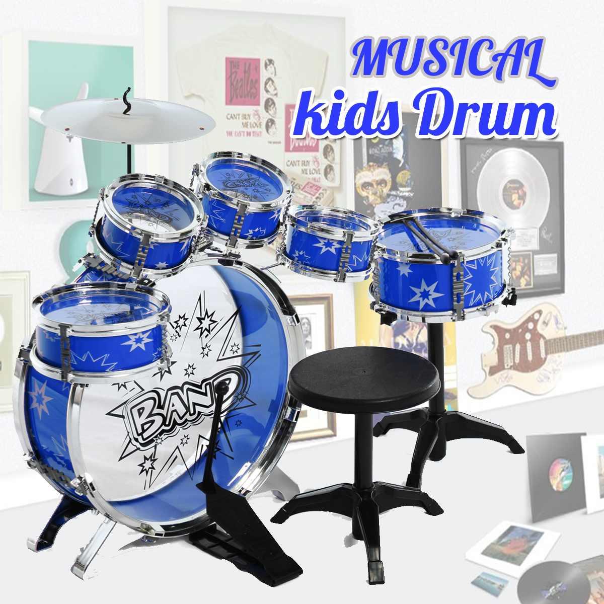 Kit de batterie Junior enfants ensemble de musique enfants enfants ensemble de batterie Junior Kit de batterie Instrument de musique à Percussion Six tabouret de ceinture de tambour