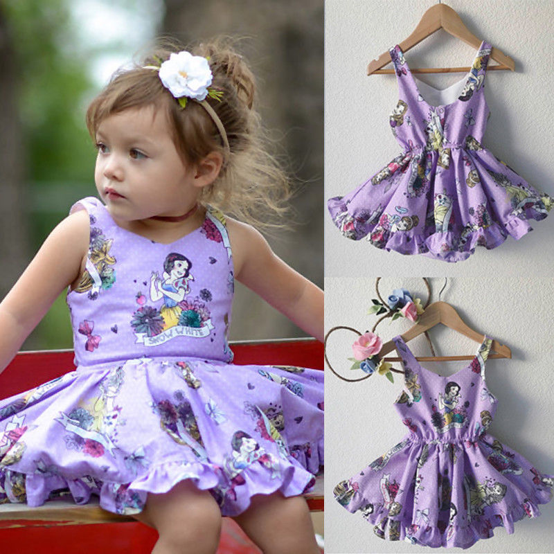 USA Snow White Toddler Baby Girls Princess Clothes Summer Backless Party Dresses