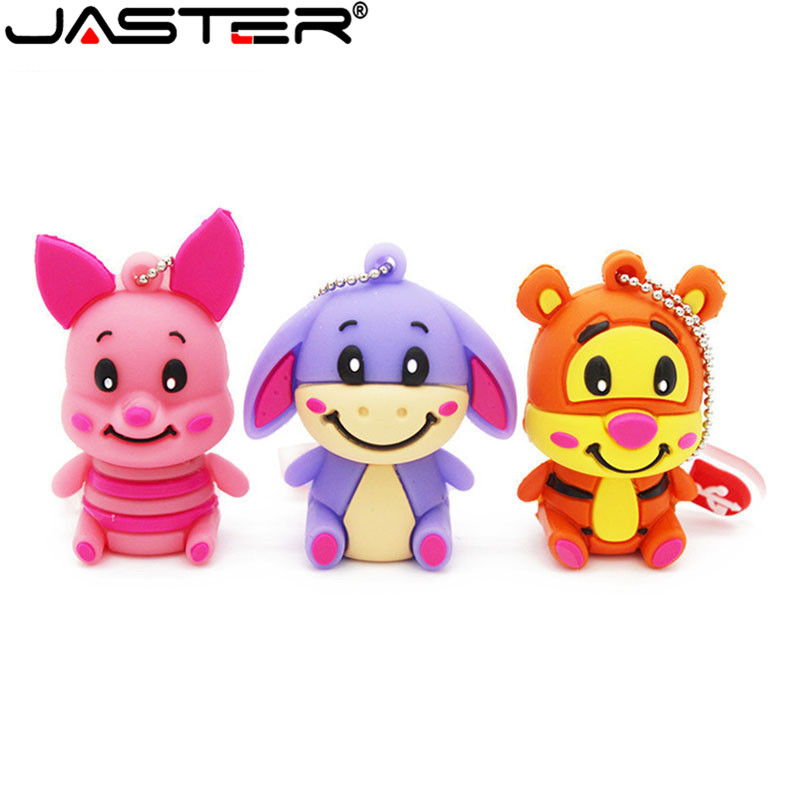 JASTER Cute Winnie Bear Pen Drive Tigger Donkey Usb Flash Drive Animal Pendrive 4GB 8GB 16GB 32GB 64GB Cartoon Memory Stick