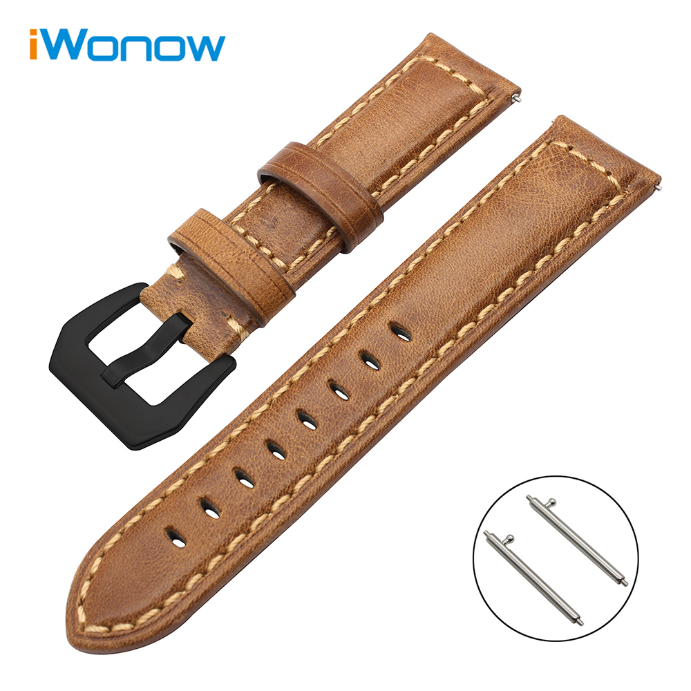 Italy Genuine Oil Leather Watchband for Huawei Watch 2 (Classic) Garmin Fenix Chronos Ticwatch 1 Quick Release Band Wrist Strap 22mm woven nylon strap replacement quick release easy fit band for garmin fenix 5 forerunner935 approach s60