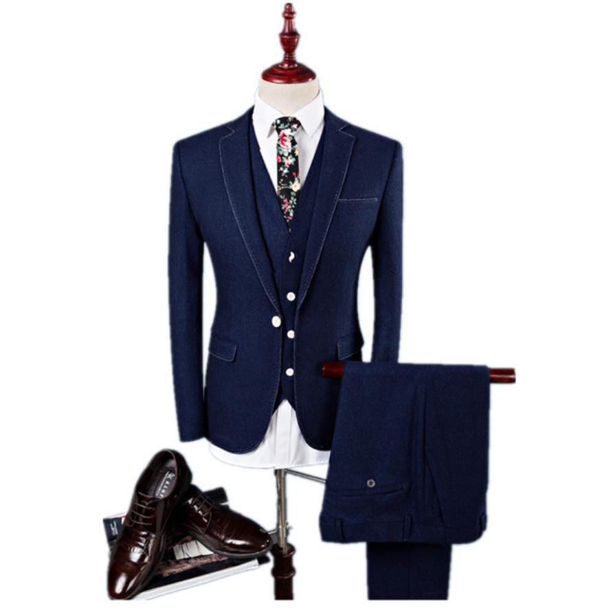 (Jacket+Vest +Pants)2019 Custom Slim Fit Men Casual Business Suits Jacket Men's Wool Suits Wedding Dress Suit Men Three Pieces