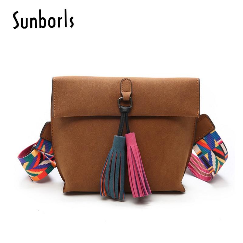 WomenS Handbags Women Messenger Bags Female Crossbody Bags Women Shoulder Bag Multicolor Strap High Tassel 10V427