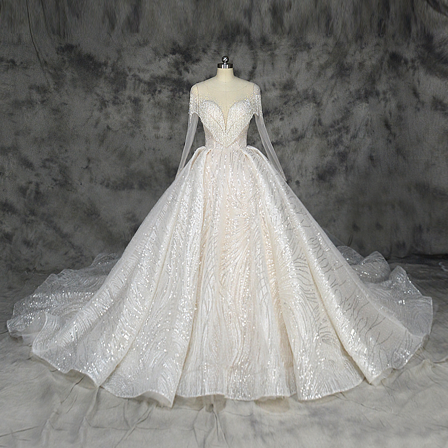 2019 New Design Bling Ball Gown Wedding Dress Luxury