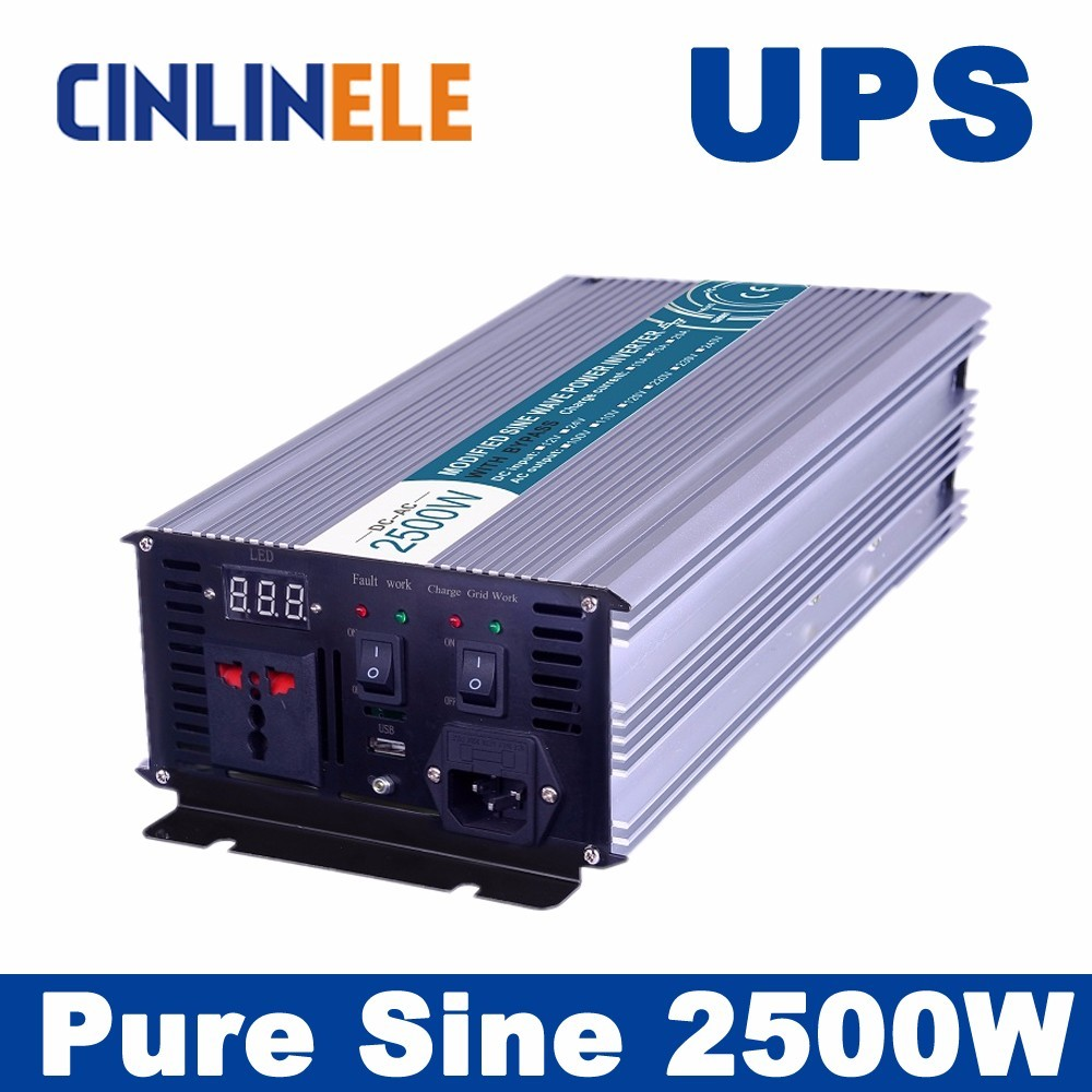 Universal inverter UPS+Charger 2500W Pure Sine Wave Inverter CLP2500A DC 12V 24V 48V to AC 110V 220V 2500W Surge Power 5000W