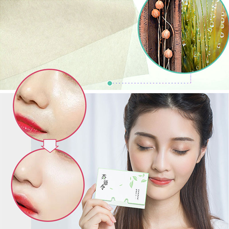 New Arrival 100 Sheets/box Oil Absorbing Paper Facial Cleanser Tool Green Tea Makeup Cleaning Oil Absorbing Face Paper