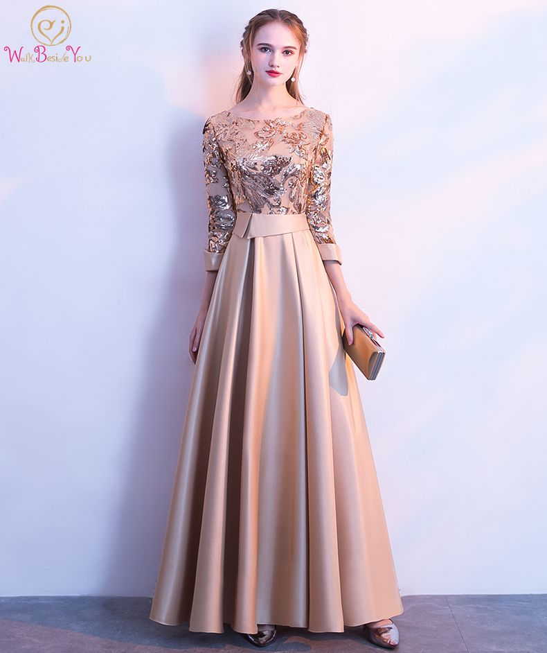 Detail Feedback Questions about Walk Beside You Gold Evening Dresses Silver  A line Three Quarter Sleeves Satin Sequined Elegant Long Prom Gown Vestidos  De ... 4bf59d9f2f4b