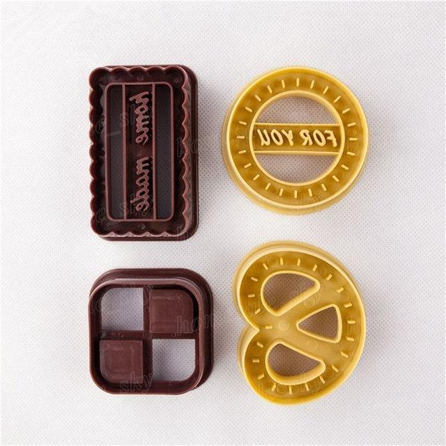 4 pièces carré rond Cookie Biscuit ensemble de coupe pain Fondant gâteau moule outil de cuisson quatre forme Cookie moule danois emporte-pièce