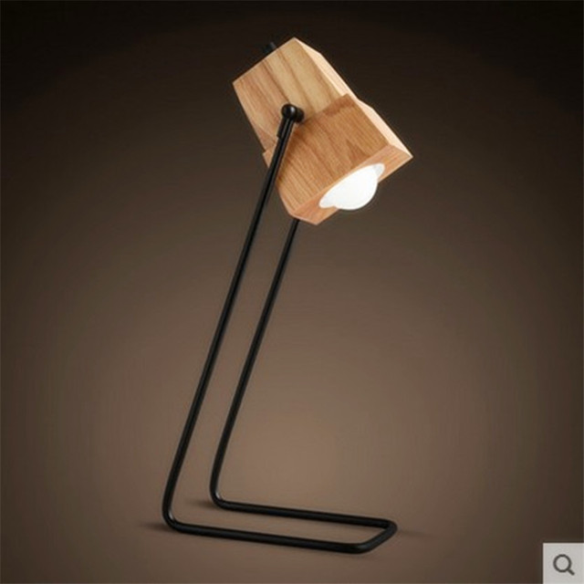 New Simple Table Lamp Desk With Iron And Solid Wood For Reading Style