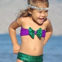 YHX Cute Kids Girls Little Mermaid Bikini Swimwear Bathing Swimsuit Fancy BABY Swimsuit New Brand