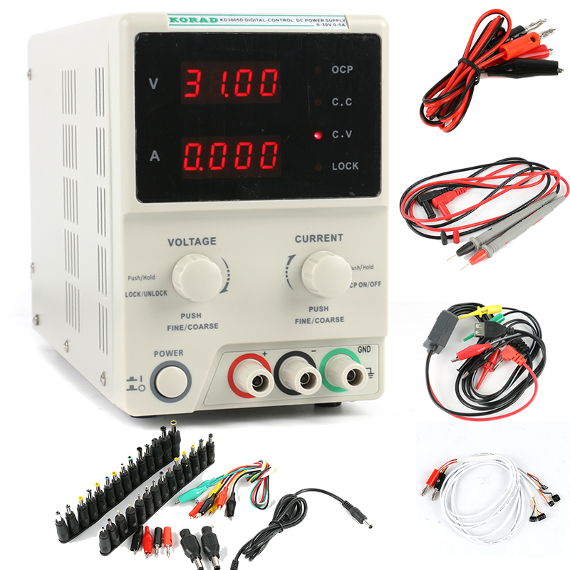 KD3005D Adjustable High Accuracy Programmable Power Supply 30V 5A Digital Laboratory Power Supply DC Jack set for Phone Repair