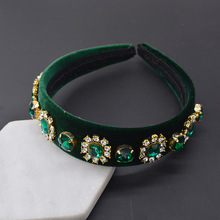купить Green Tiaras Baroque Crown Luxury Crystal Hairband  Women Red Rhinestone Headband Hair Accessories Wedding Jewelry дешево