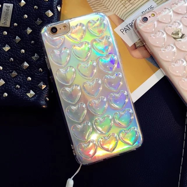 2016 Hologram Iridescent 3D Love Heart Rainbow Opalescent Metallic Oil TPU Shell Case For iPhone 6 6s 6plus 6s plus Capa Para