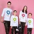 1 Pieza Familia Look Print Globo de Aire Caliente Camisetas 9 Colores Otoño Ropa A Juego Familia Padre Madre Ropa de Niños trajes