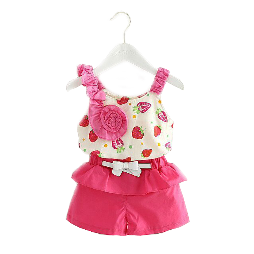girls clothes summer 2016 casual kids clothing sleeveless Strawberry print flowers Sling suits next children clothing sets